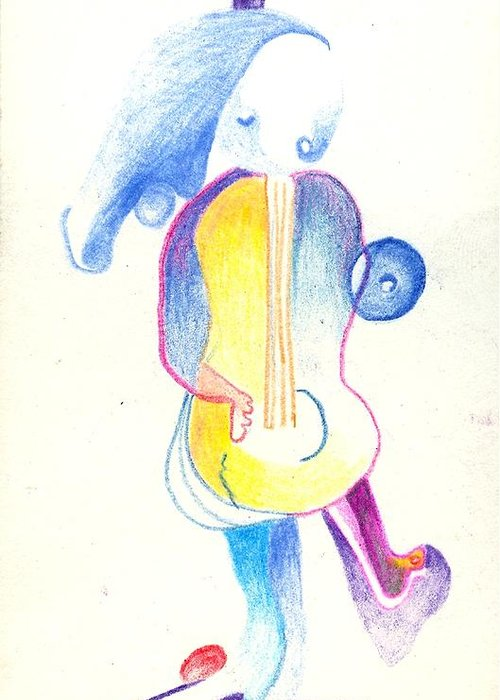 Girl Greeting Card featuring the painting She Plays Guitar by Ricky Sencion