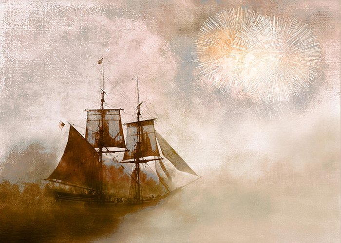 Tall Ships Greeting Card featuring the photograph She Returns Home by Jeff Burgess