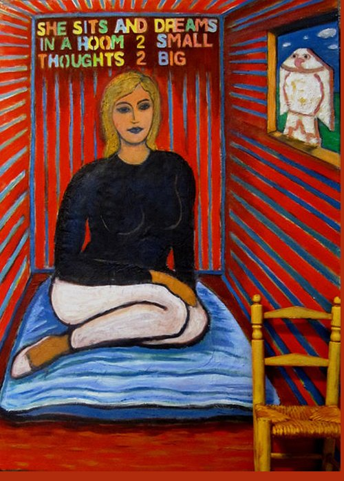 Woman Greeting Card featuring the painting She Sits And Dreams In A Room 2 Small Thoughts 2 Big by Susan Stewart