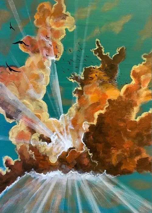 Clouds Greeting Card featuring the painting She Soars by Joel Tesch