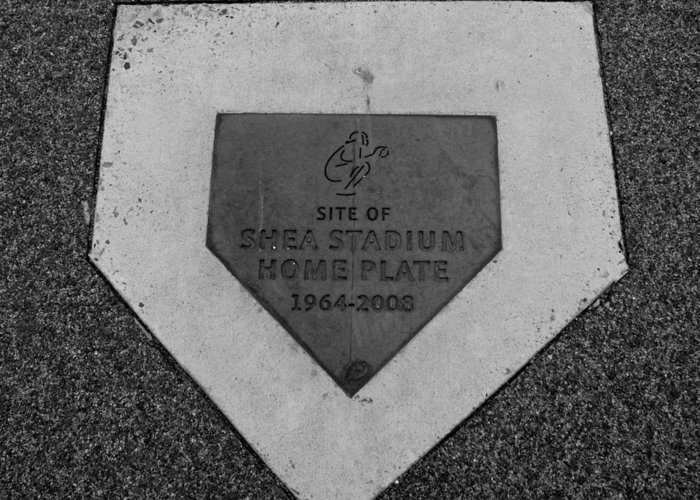 Shea Stadium Greeting Card featuring the photograph Shea Stadium Home Plate In Black And White by Rob Hans