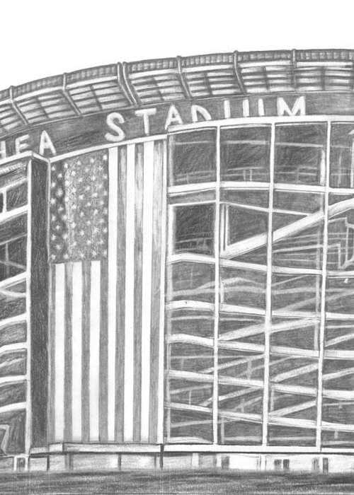 Shea Stadium Greeting Card featuring the drawing Shea Stadium by Juliana Dube