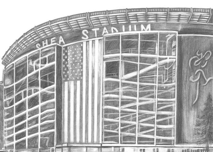 Shea Stadium Drawings Greeting Cards