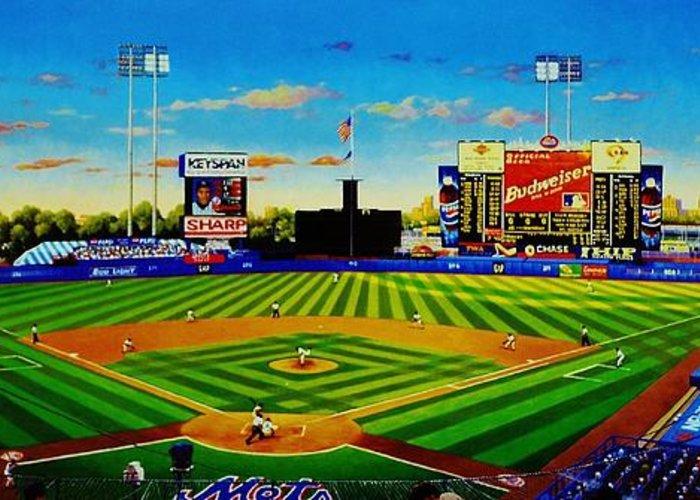 Baseball Greeting Card featuring the painting Shea Stadium by T Kolendera