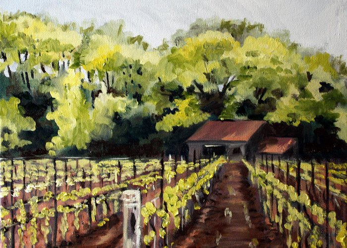 Vineyard Greeting Card featuring the painting Shed In A Vineyard by Sarah Lynch
