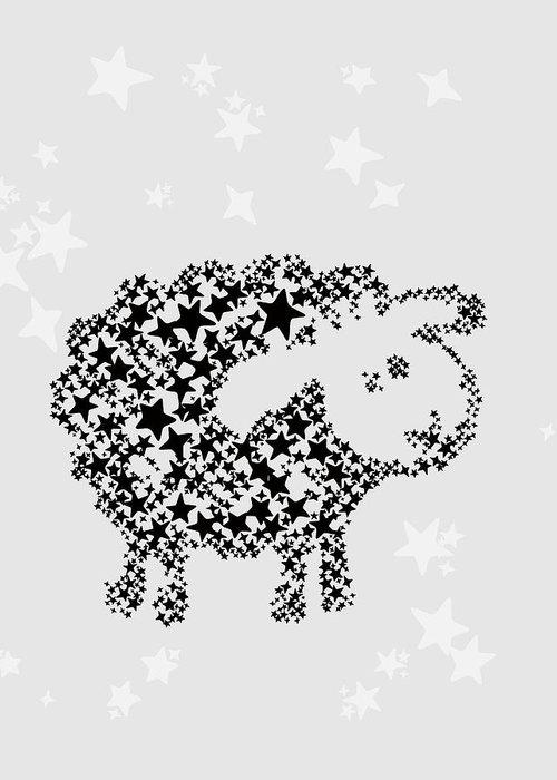 Animal Greeting Card featuring the digital art Sheep Black Star by Hieu Tran