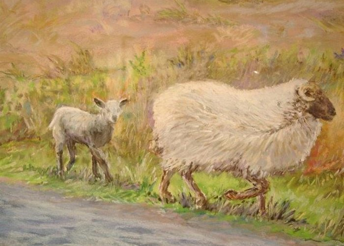 Animals Greeting Card featuring the painting Sheep by Debbie Peate