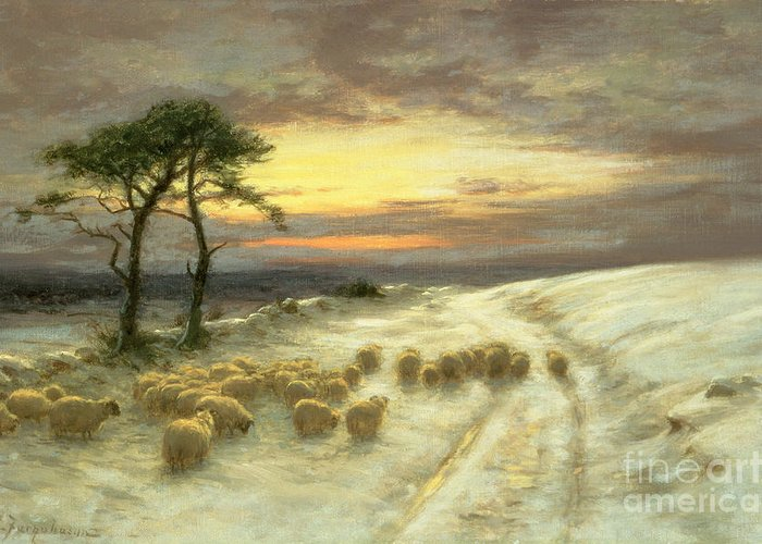 Sheep Greeting Card featuring the painting Sheep In The Snow by Joseph Farquharson