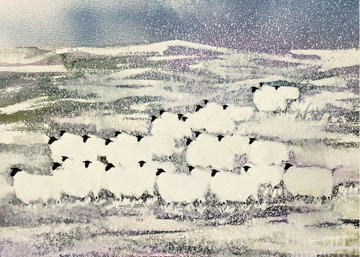 Sheep In Winter By Suzi Kennett (contemporary Artist) Greeting Card featuring the painting Sheep In Winter by Suzi Kennett