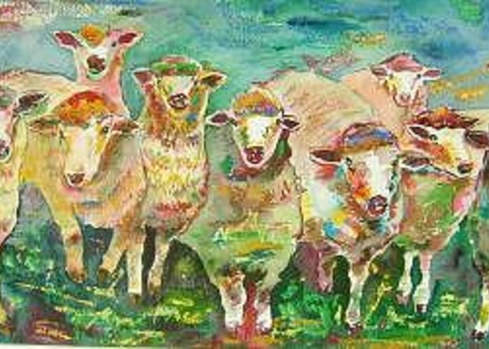 Sheep Flock Greeting Card featuring the painting Sheep Marketing Board by Naomi Gerrard