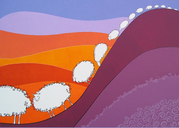 Mountains Greeting Card featuring the painting Sheep by Patricia Van Lubeck