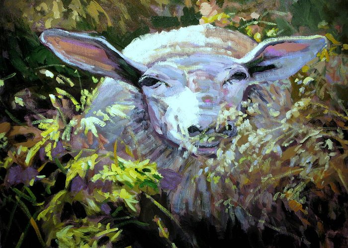 Animals Greeting Card featuring the painting Sheepish by Brian Simons