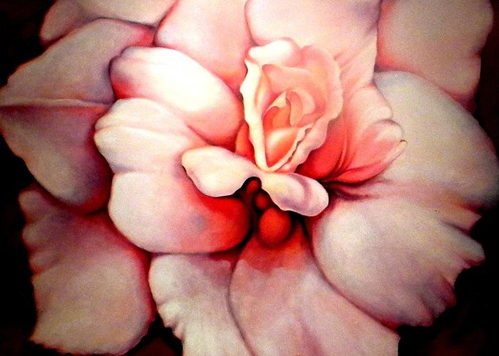 Blooms.large Rose Greeting Card featuring the painting Sheer Bliss by Jordana Sands