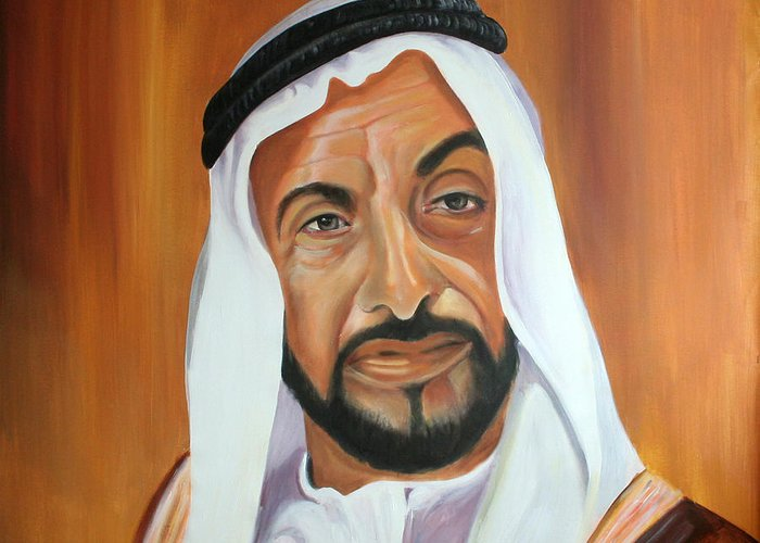 Abu Dhabi Greeting Card featuring the painting Sheikh Zayed Bin Sultan Al Nahyan by Fiona Jack