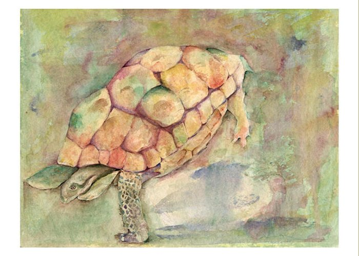 Turtle Greeting Card featuring the painting Sheila by Marlene Robbins