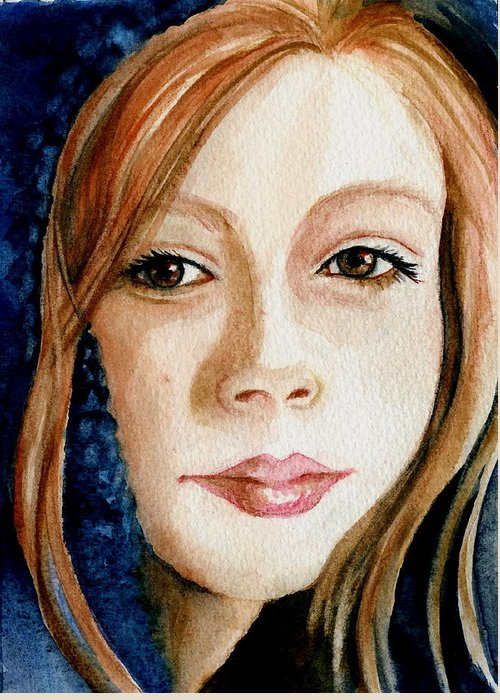 Portrait Commission Greeting Card featuring the painting Shel by L Lauter