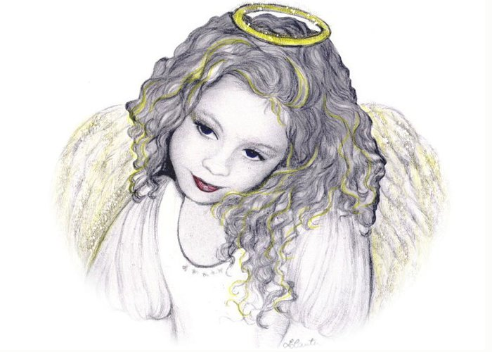 Angel Greeting Card featuring the drawing Shelangel by L Lauter