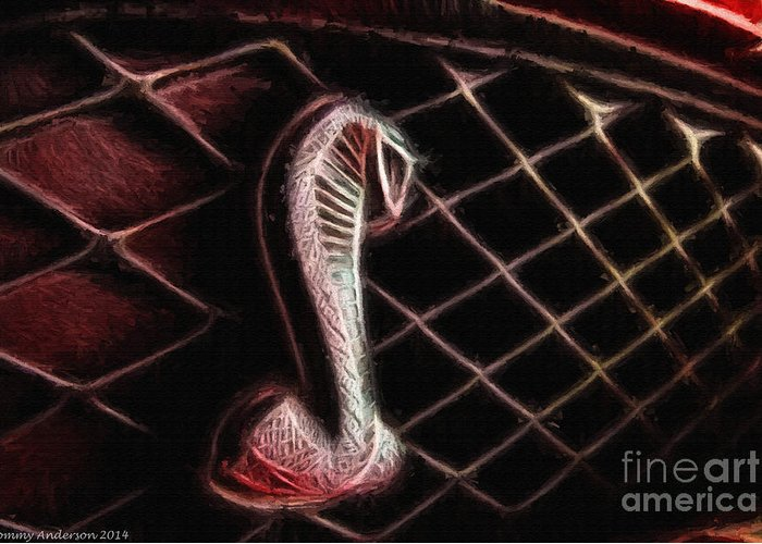 Ford Greeting Card featuring the photograph Shelby Cobra Grill Logo by Tommy Anderson