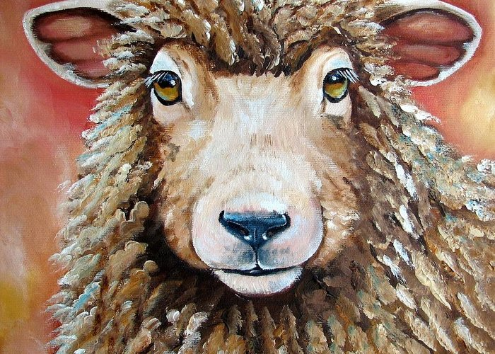 Sheep Greeting Card featuring the painting Shelby by Laura Carey