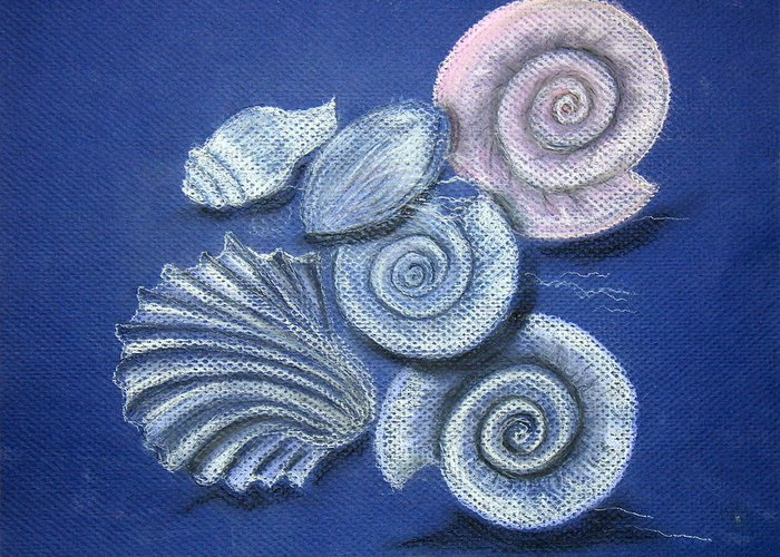 Shells Greeting Card featuring the painting Shells by Barbara Teller