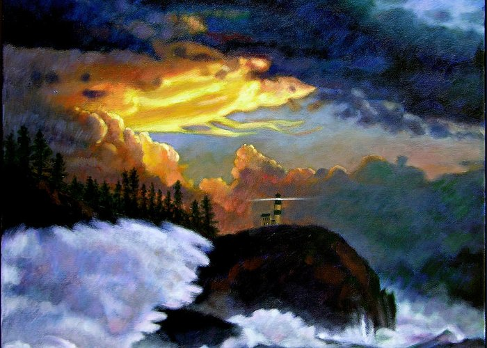 Ocean Greeting Card featuring the painting Shelter From The Storm by John Lautermilch