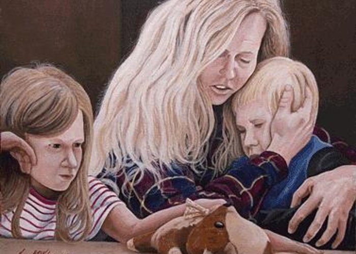 Homeless Family Greeting Card featuring the painting Sheltered by Kenneth Kelsoe