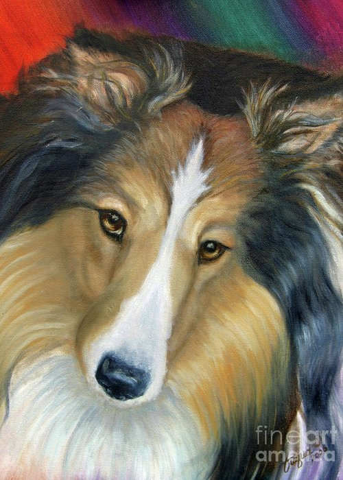 Fuqua - Artwork Greeting Card featuring the painting Sheltie - Collie by Beverly Fuqua