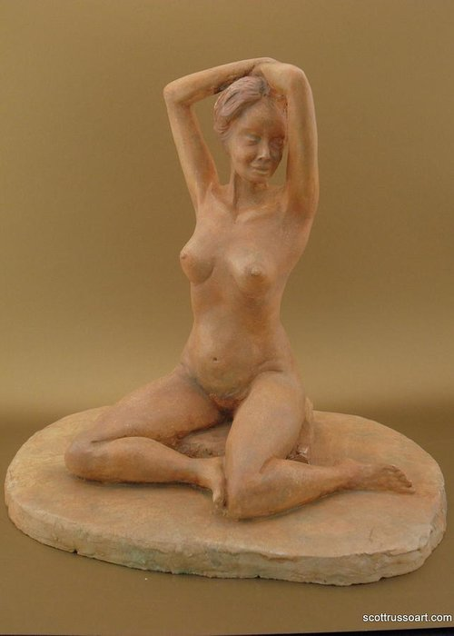Sculpture Greeting Card featuring the sculpture Shenel by Scott Russo