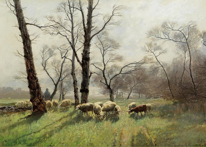 August Fink Greeting Card featuring the painting Shepherd With His Flock In The Evening Light by August Fink
