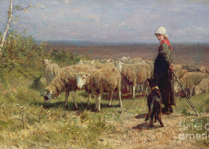 Shepherdess Greeting Card featuring the painting Shepherdess by Anton Mauve