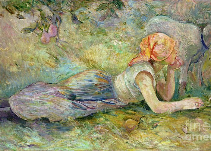 Shepherdess Greeting Card featuring the painting Shepherdess Resting by Berthe Morisot