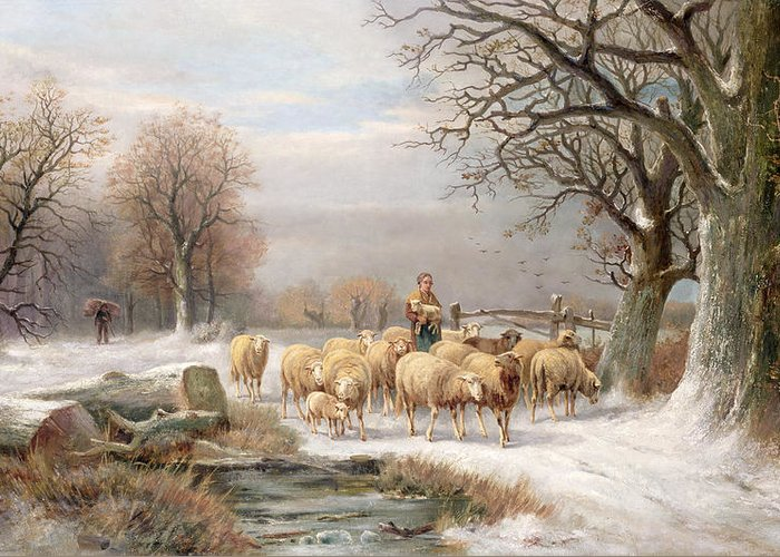 Sheep; Snow; Bleak; Lamb; Log; Carrying; Firewood; Troupeau; Flock; Mouton Greeting Card featuring the painting Shepherdess With Her Flock In A Winter Landscape by Alexis de Leeuw