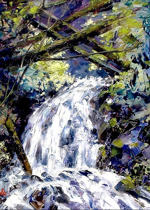 Landscape Greeting Card featuring the painting Shepherds Dell Falls Coumbia Gorge Or by Jim Gola