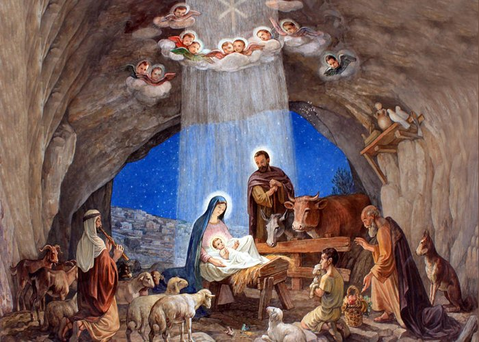 Photo Greeting Card featuring the photograph Shepherds Field Nativity Painting by Munir Alawi