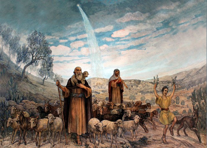 Photo Greeting Card featuring the painting Shepherds Field Painting by Munir Alawi