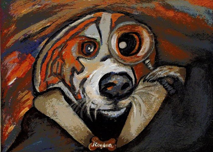 Dog Greeting Card featuring the painting Sherdog Holmes by Regina Brandt