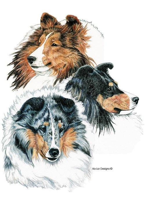 Shetland Sheepdog Greeting Card featuring the drawing Shetland Sheepdogs by Kathleen Sepulveda