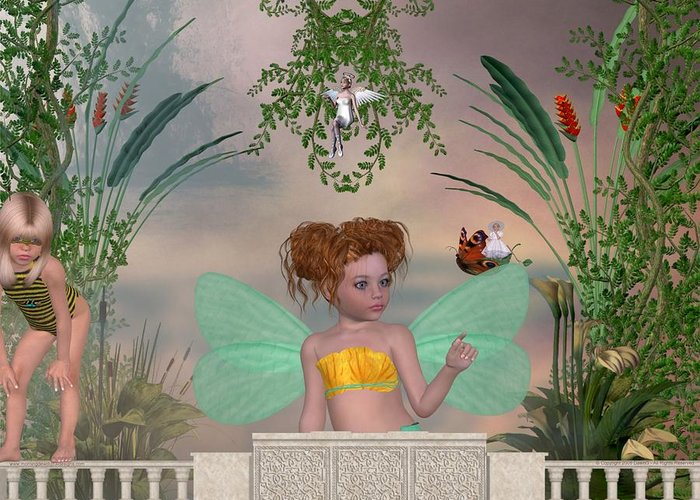 Fairy Greeting Card featuring the digital art Shhhh by Morning Dew