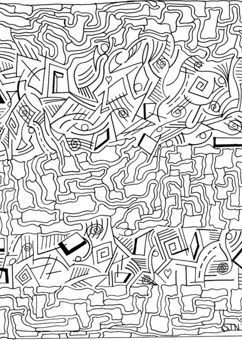 Mazes Greeting Card featuring the drawing shikShana by Steven Natanson