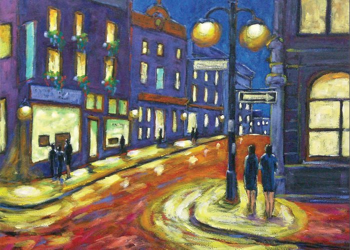 Night Greeting Card featuring the painting Shimmering Night by Richard T Pranke