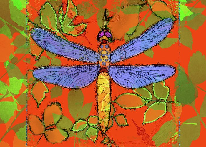 Dragonfly Greeting Card featuring the digital art Shining Dragonfly by Mary Ogle