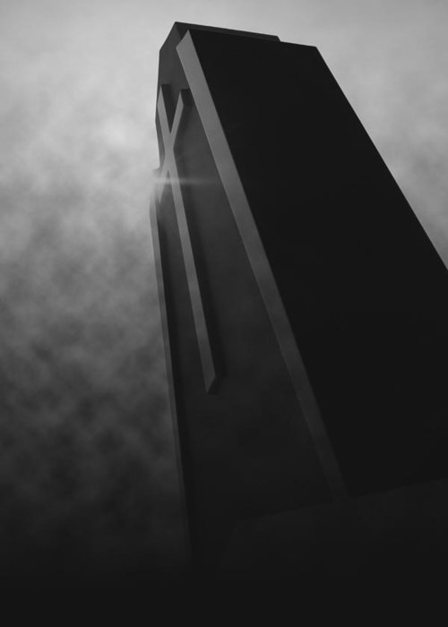 Black Greeting Card featuring the photograph 'shining Intrigue I' by Adam M Dee