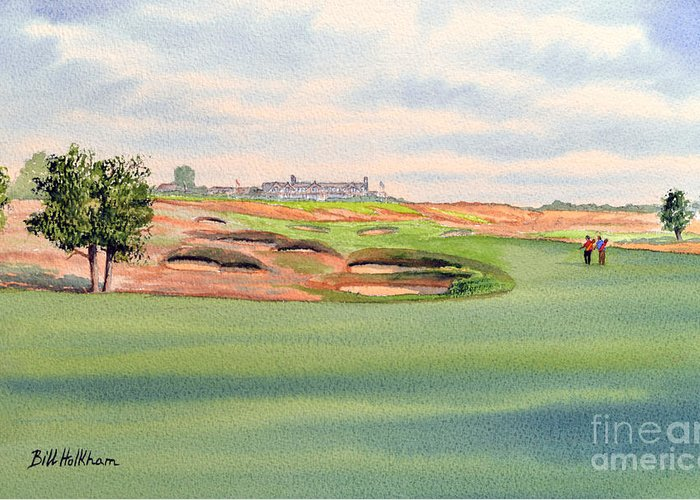Shinnecock Hills Golf Course Greeting Card featuring the painting Shinnecock Hills Golf Course by Bill Holkham