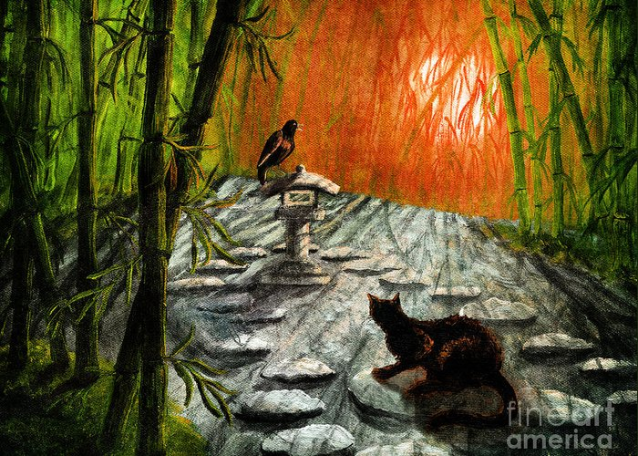 Black Greeting Card featuring the digital art Shinto Lantern At Dusk by Laura Iverson