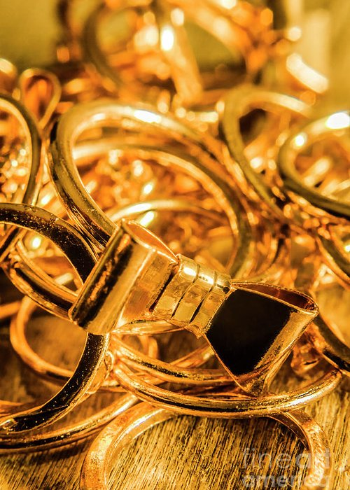 Gold Greeting Card featuring the photograph Shiny Gold Rings by Jorgo Photography - Wall Art Gallery