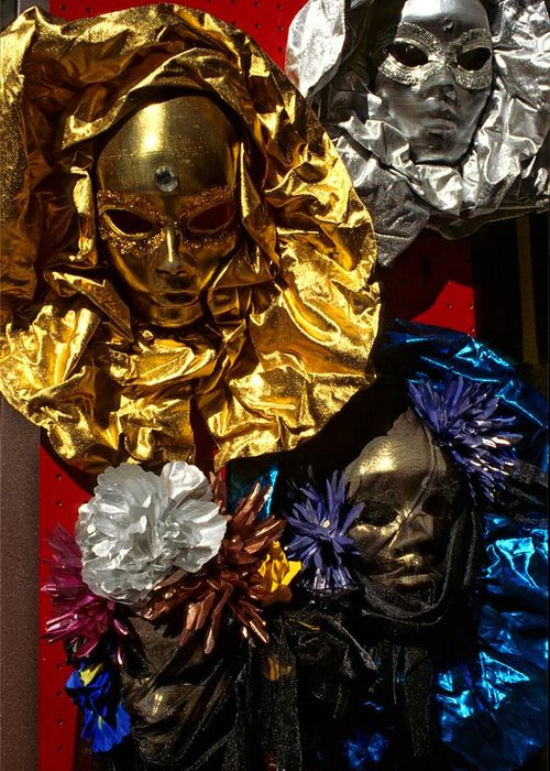 Venice Greeting Card featuring the photograph Shiny Masks In Venice by Michael Henderson