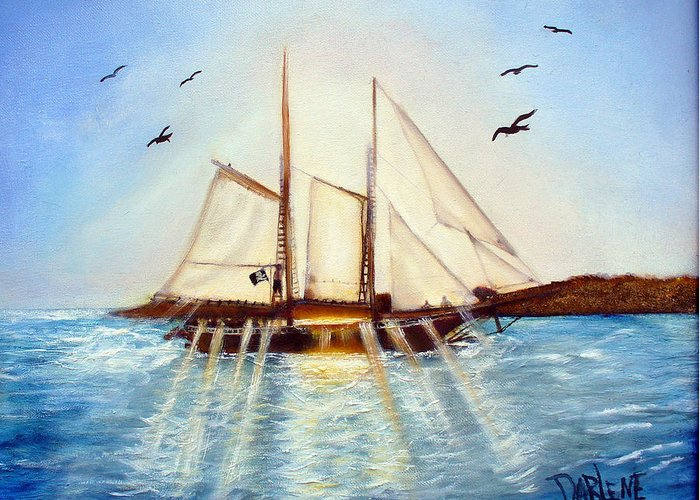 Ship Greeting Card featuring the painting Ship At Mallory Square by Darlene Green