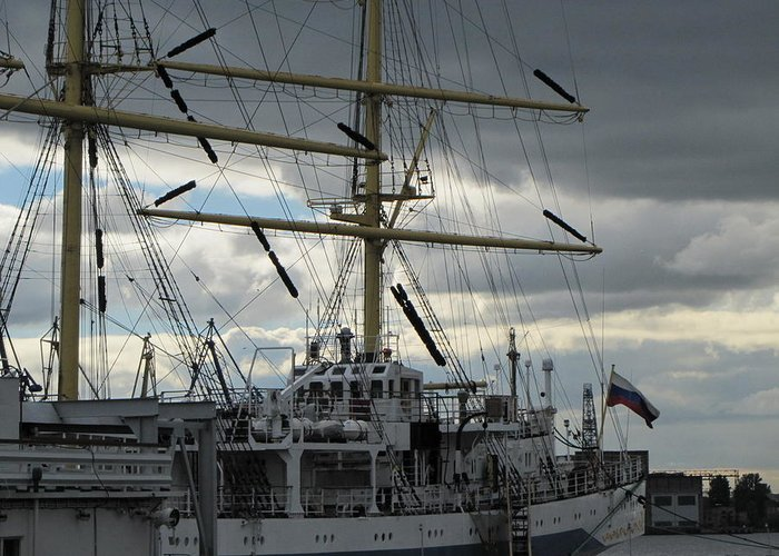Greeting Card featuring the pyrography Ship Masts by Yury Bashkin