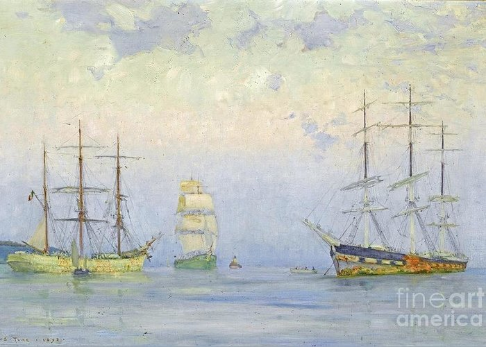 Henry Scott Tuke - Shipping At Anchor Greeting Card featuring the painting Shipping At Anchor by MotionAge Designs