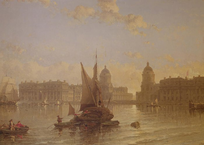 Shipping Greeting Card featuring the painting Shipping On The Thames At Greenwich by David Roberts